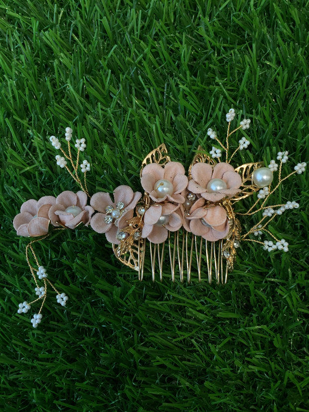 Floral Pearls Pink Hair Comb