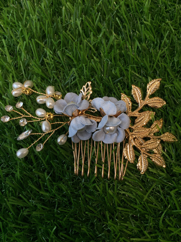 Floral Pearls Blue Hair Comb