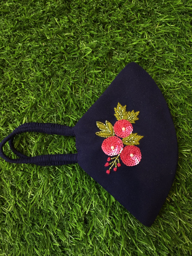 Blush Floral Dark Blue Mask