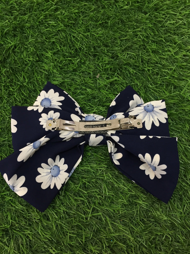 Blue Floral Hair Bow