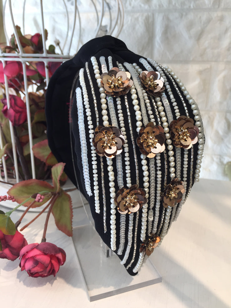 Floral Pearly Black Turban Hairband