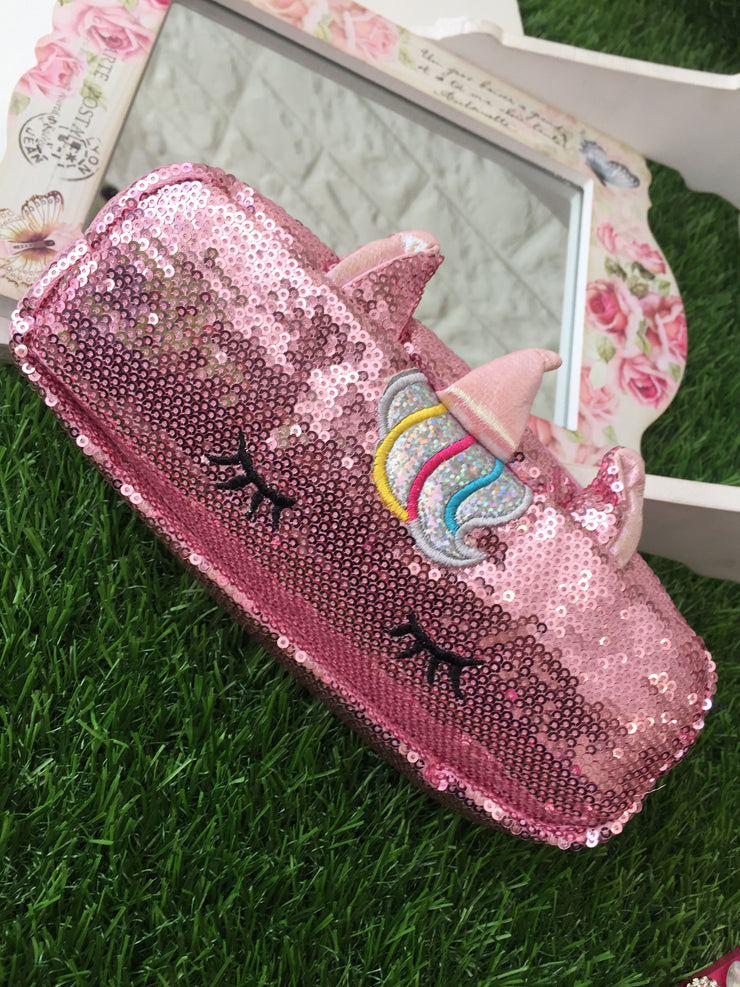 Pink Sequin Unicorn Pencil Case