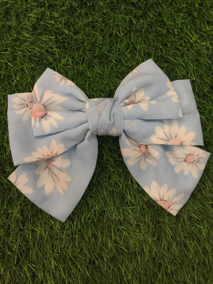 Sky Blue Floral Hair Bow