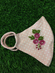 Floral Baby Pink Dotted Initial Mask