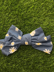 Floral Printed Dark Blue Hair Bow