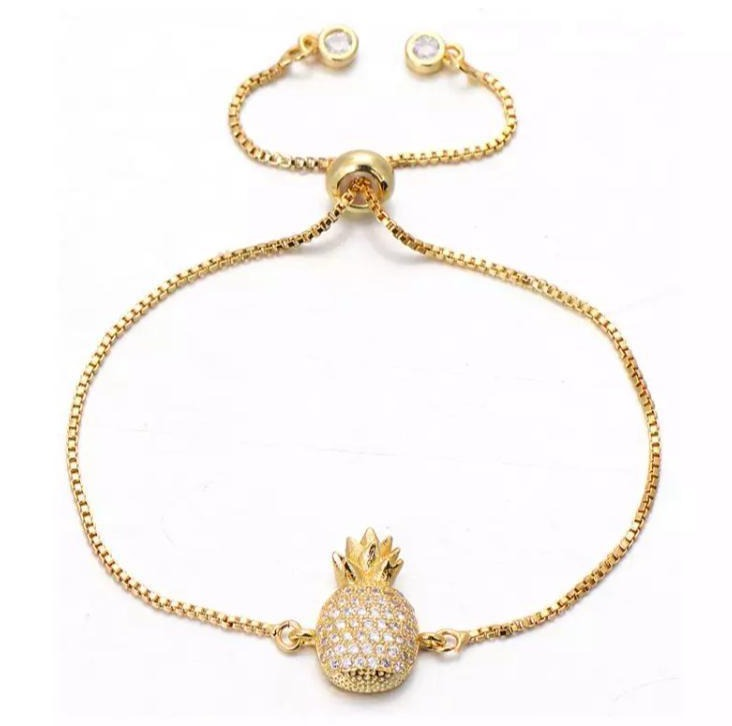 Pineapple Gold String Adjustable Bracelet