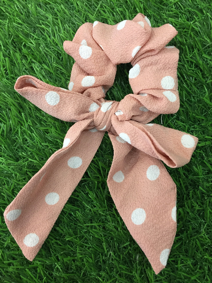 Dusky Pink Dotted Scrunchie
