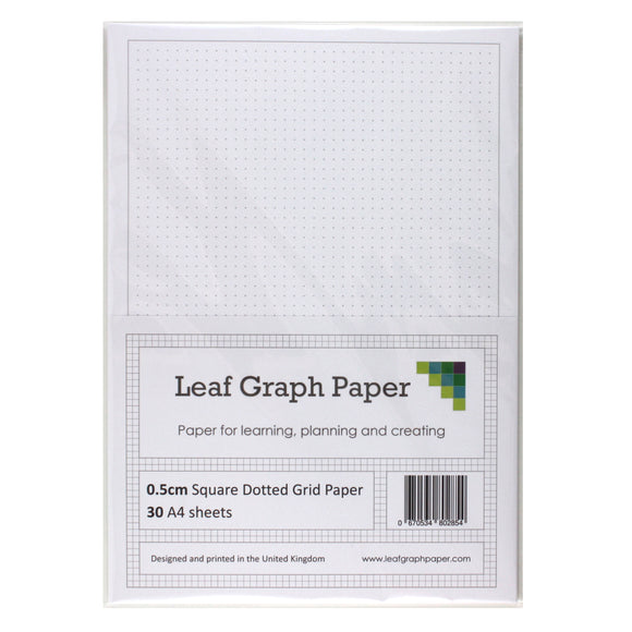 A4 Square Dotted Grid 5mm 0.5cm Graph Paper - 30 Loose-Leaf Sheets - Grey Dots