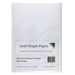 A4 Square Dotted Grid 10mm 1cm Graph Paper - 30 Loose-Leaf Sheets
