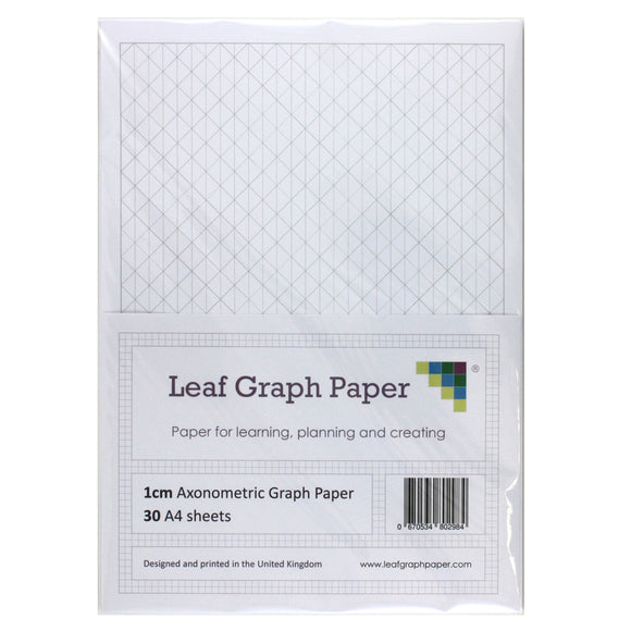 A4 Axonometric Graph Paper 10mm 1cm Triangles - 30 Loose-Leaf Sheets