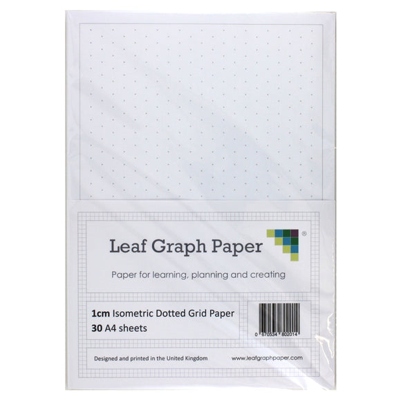 A4 Isometric Dotted Grid 10mm 1cm Graph Paper - 30 Loose-Leaf Sheets