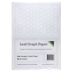 A4 Hexagon Graph Paper 20mm 2cm - 30 Loose-Leaf Sheets
