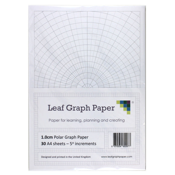 A4 Polar Graph Paper 5 Degree Increments - 30 Loose-Leaf Sheets