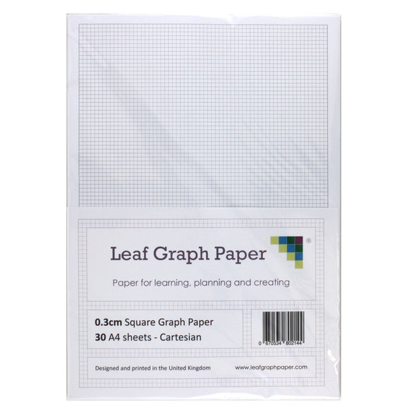 A4 Graph Paper 3mm 0.3cm Squared Cartesian - 30 Loose-Leaf Sheets
