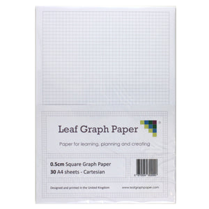 A4 Graph Paper 5mm 0.5cm Squared Cartesian - 30 Loose-Leaf Sheets