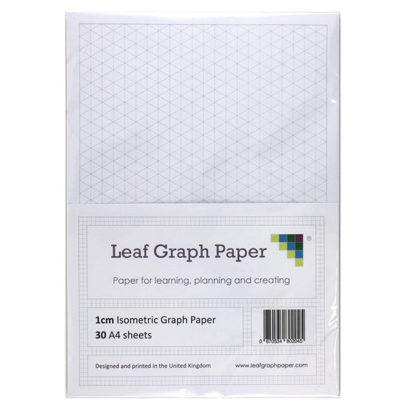 A4 Isometric Graph Paper 10mm 1cm Triangles - 30 Loose-Leaf Sheets