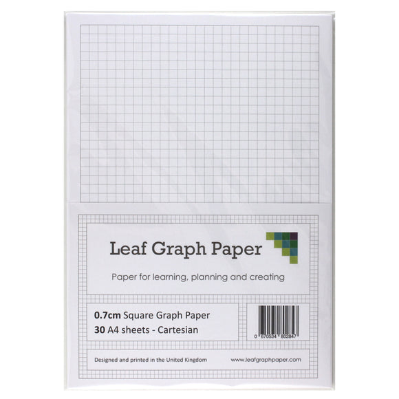 A4 Graph Paper 7mm 0.7cm Squared - 30 Loose-Leaf Sheets - Grey Grid