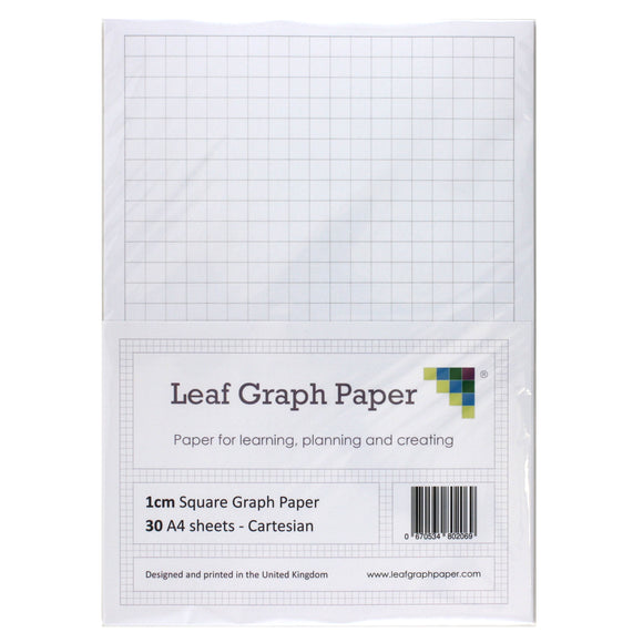 A4 Graph Paper 10mm 1cm Squared - 30 Loose-Leaf Sheets