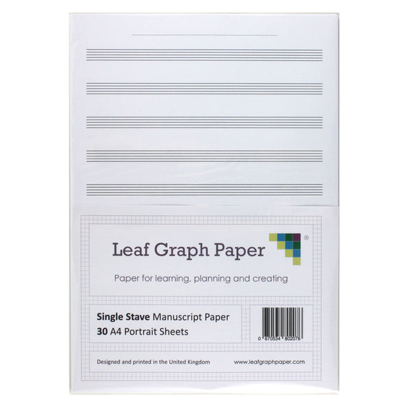 A4 Manuscript Music Paper, 10x Single Stave Staff, 30 Loose-Leaf Portrait Sheets