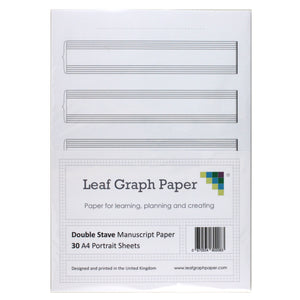 A4 Manuscript Music Paper 5x Double Stave Staff - 30 Loose-Leaf Sheets
