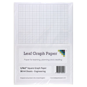 "A4 Graph Paper 1/4 Inch 0.25"" Squared Imperial - 30 Loose-Leaf Sheets"