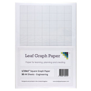 "A4 Graph Paper 1/10 Inch 0.1"" Squared Imperial - 30 Loose-Leaf Sheets"