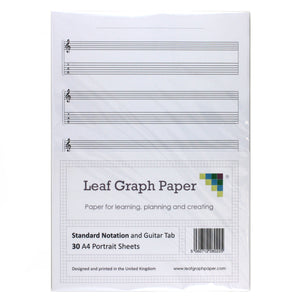 A4 Guitar Tab and Standard Notation Sheet Music, 5x Staves, 30 Blank Sheet Pack