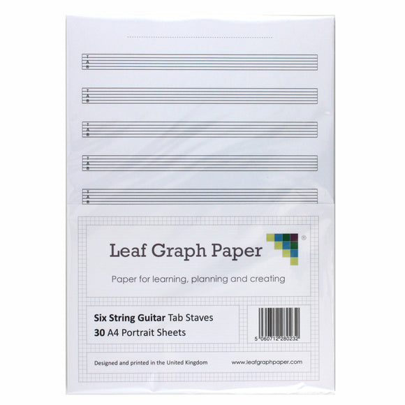 A4 Guitar Tab Blank Sheet Music, 10x Six String Tab Staves, 30 Loose-Leaf Sheets