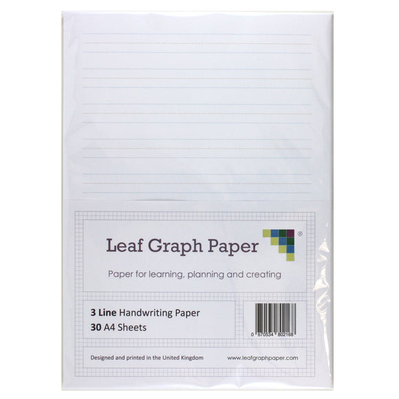 A4 Handwriting Paper Pack 3 Line Style - 30 Loose-Leaf Sheets - Teaching Resource