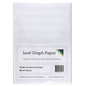 A4 Handwriting Paper Pack 4 Line Style - 30 Loose-Leaf Sheets - Teaching Resource