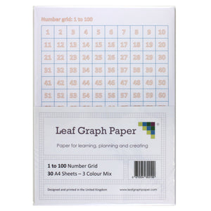 A4 Number Grid Pack - 1 to 100 Number Square - 30 Loose-Leaf Sheets - Teaching Resource