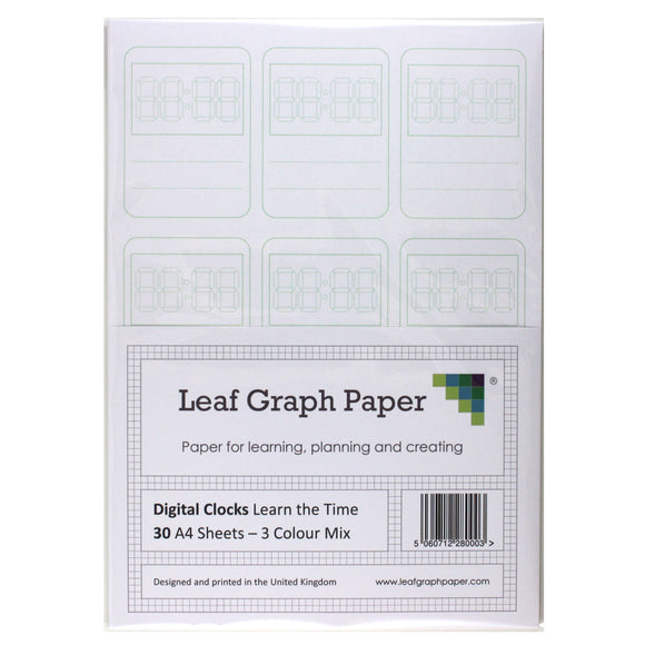 Learn to Tell Time - Digital Clock Faces - 30 A4 Loose-Leaf Sheets - Teaching