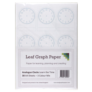A4 Learn to Tell Time - Analogue Clock Faces - 30 Loose-Leaf Sheets - Teaching Resource - Leaf Graph Paper