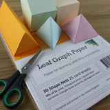 3D Shape Nets A4 Card, Cube, Pyramid, Triangle + Pentagon Prism, 25 Sheets - Teaching
