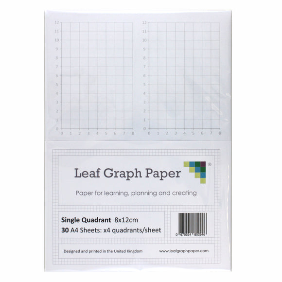 A4 Quadrant Coordinate Paper, Single Quadrant x4, 10mm 1cm Squared, 30 Sheet Pack