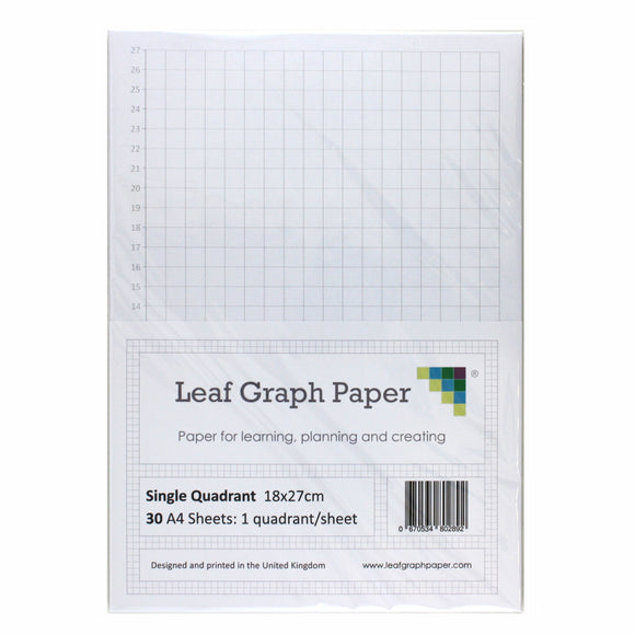 A4 Quadrant Coordinate Paper, Single Quadrant x1, 10mm 1cm Squared, 30 Sheet Pack