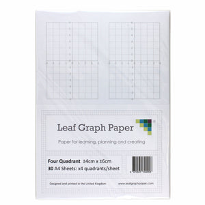 A4 Quadrant Coordinate Paper, Four Quadrant x4, 10mm 1cm Squared, 30 Sheet Pack
