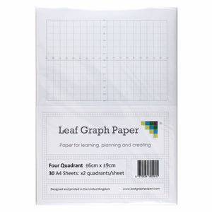 A4 Quadrant Coordinate Paper, Four Quadrant x2, 10mm 1cm Squared, 30 Sheet Pack