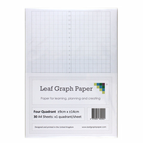 A4 Quadrant Coordinate Paper, Four Quadrant x1, 10mm 1cm Squared, 30 Sheet Pack