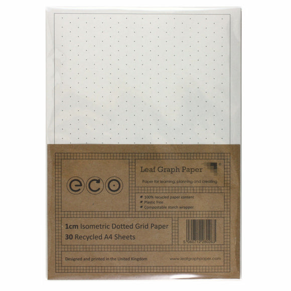 A4 Isometric Dotted Grid 10mm 1cm Graph Paper, 100% Recycled, Plastic Free, 30 Loose Sheets