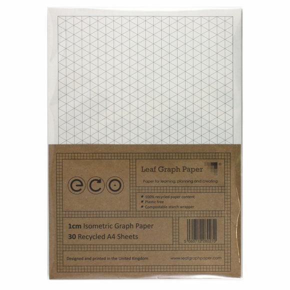 A4 Isometric Graph Paper 10mm 1cm, 100% Recycled, Plastic Free, 30 Loose Sheets