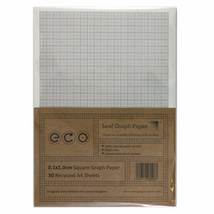 A4 Graph Paper 1mm 0.1cm Squared, 100% Recycled, Plastic Free, 30 Loose Sheets