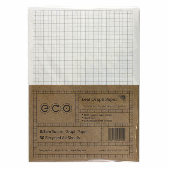 A4 Graph Paper 5mm 0.5cm Squared, 100% Recycled, Plastic Free, 30 Loose Sheets