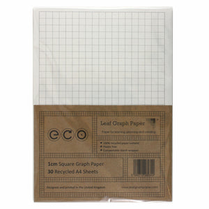 A4 Graph Paper 10mm 1cm Squared, 100% Recycled, Plastic Free, 30 Loose Sheets