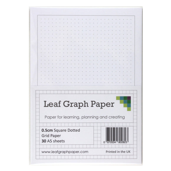 A5 Square Dotted Grid 5mm 0.5cm Graph Paper - 30 Loose-Leaf Sheets - Grey Dots