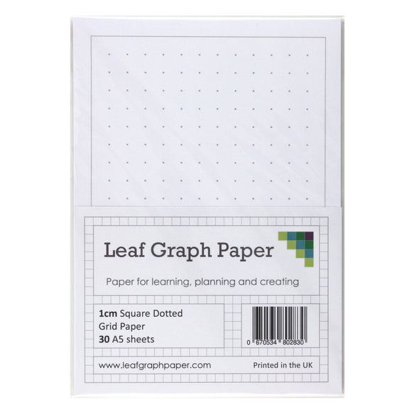 A5 Square Dotted Grid 10mm 1cm Graph Paper - 30 Loose-Leaf Sheets - Grey Dots