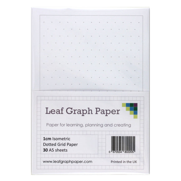 A5 Isometric Dotted Grid 10mm 1cm Graph Paper - 30 Loose-Leaf Sheets