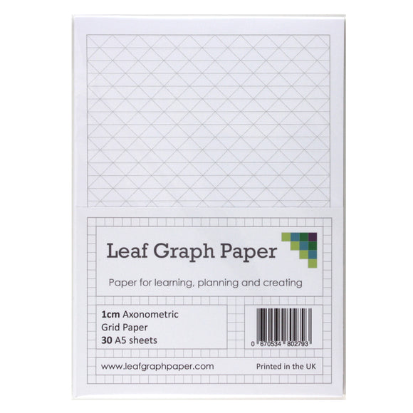 A5 Axonometric Graph Paper 10mm 1cm Triangles - 30 Loose-Leaf Sheets - Grey Grid