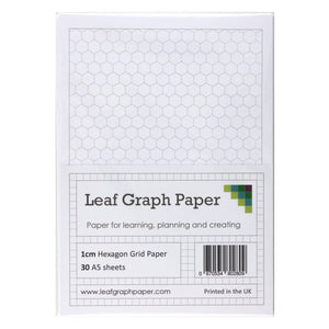 A5 Hexagon Graph Paper 10mm 1cm - 30 Loose-Leaf Sheets - Grey Grid