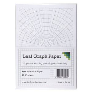 A5 Polar Graph Paper 5 Degree Increments - 30 Loose-Leaf Sheets - Grey Grid